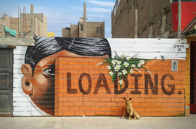 Street Art By Jade For Proyecto Afuera in Pisco, Peru. details loading dog
