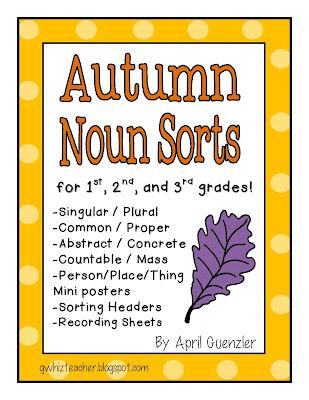 gwhizteacher, autumn noun sorts