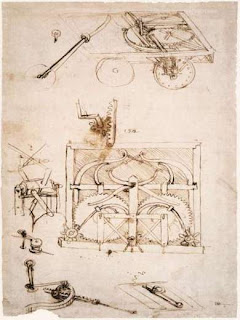 Plano original del 'automóvil' creado por Leonardo