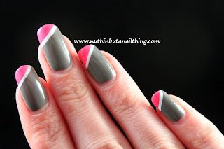 pink tips nail art