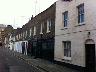 Old houses in Boston Place, Marylebone, London.