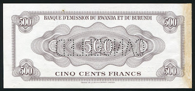 Rwanda and Burundi Bank money 500 Francs