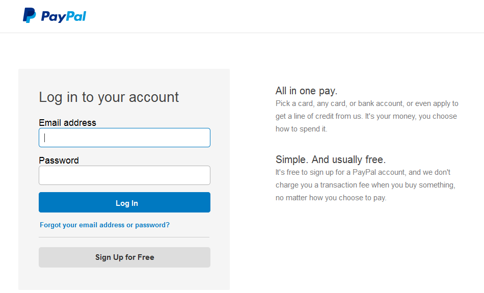 paypal co login