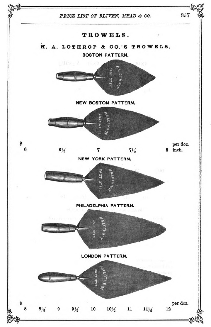 Masonry Trowel Types : Trowel and masonry tool collector resource history of h