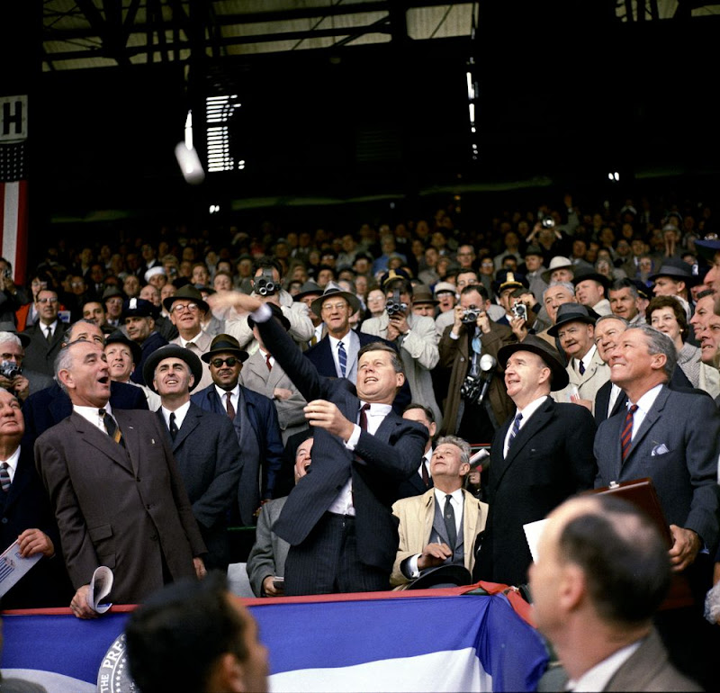 JFK-Opening-Day-Of-1961-Baseball-Season-