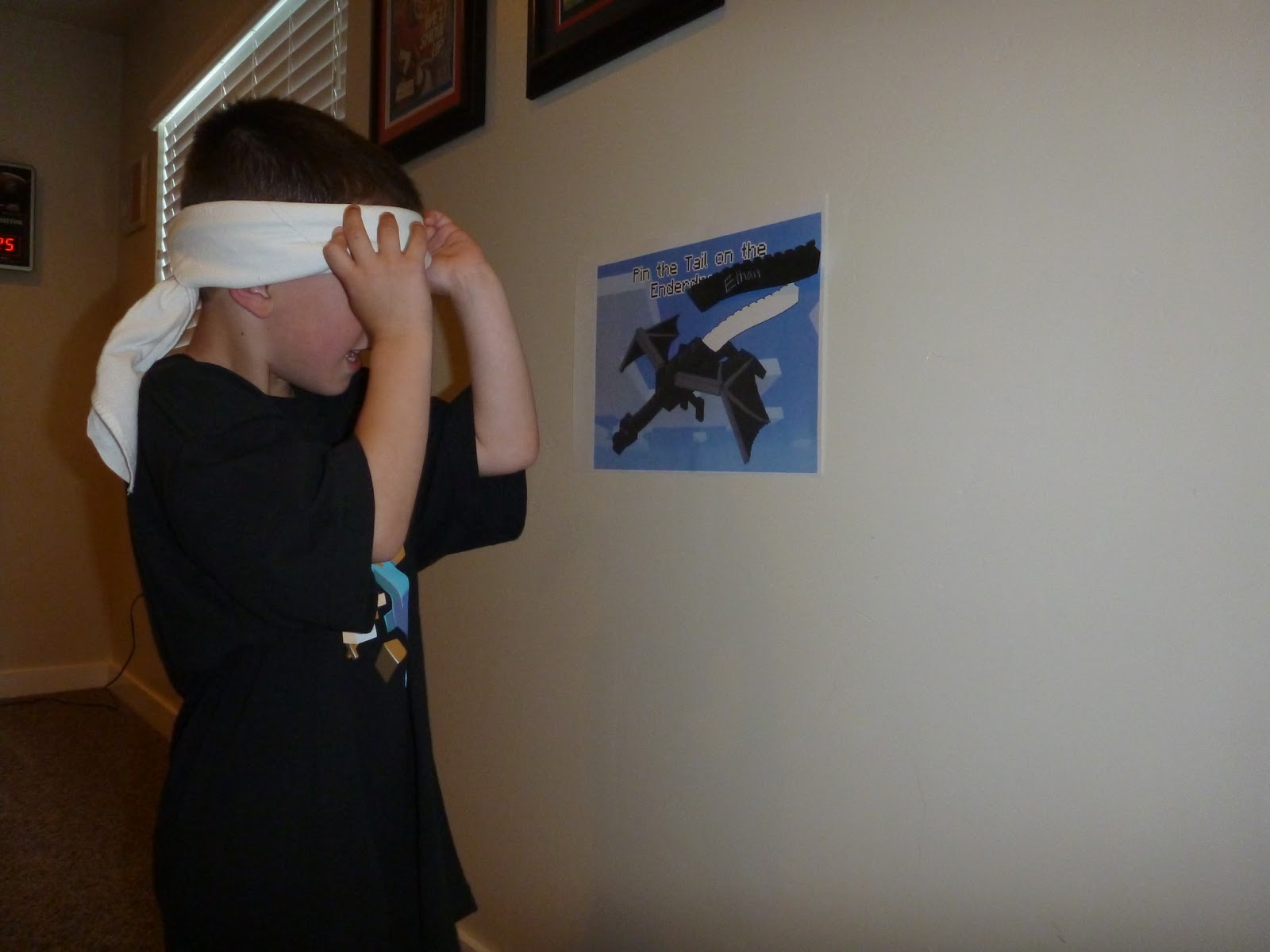 For the games we played pin the tail on the Enderdragon. The kids were