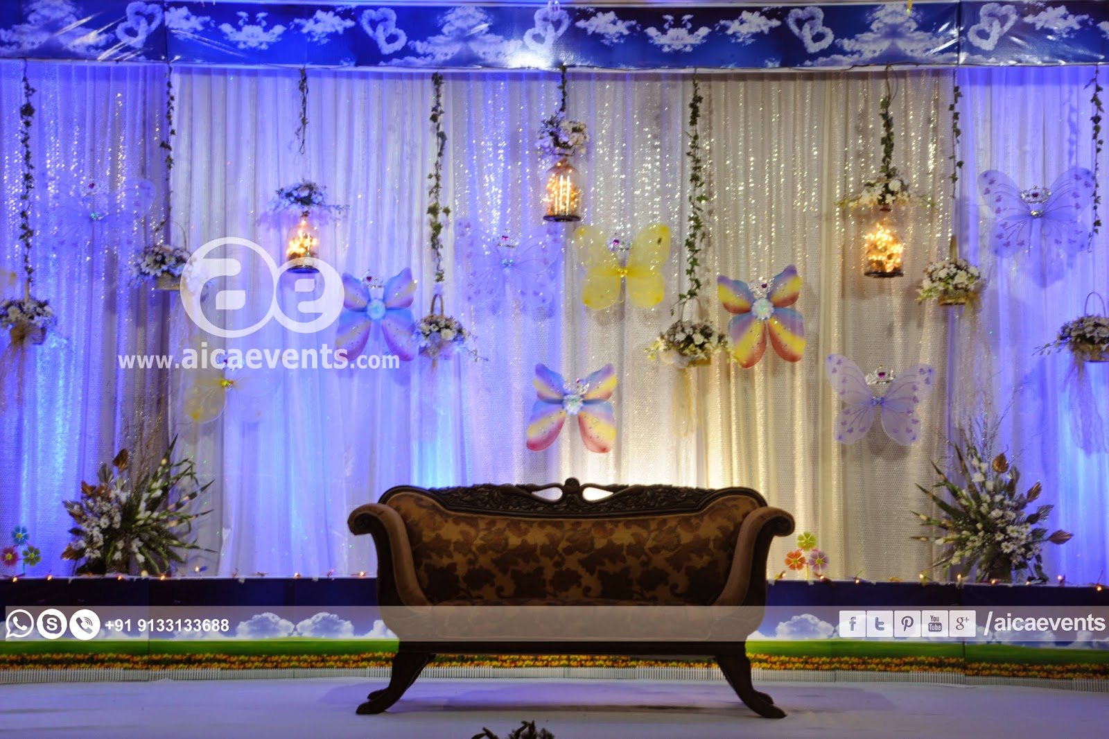 Aicaevents butterfly theme birthday party ideas for 1st birthday hall decoration ideas