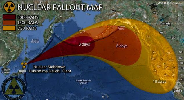 Ausbreitungszone einer möglichen radioaktiven Wolke von Japan aus