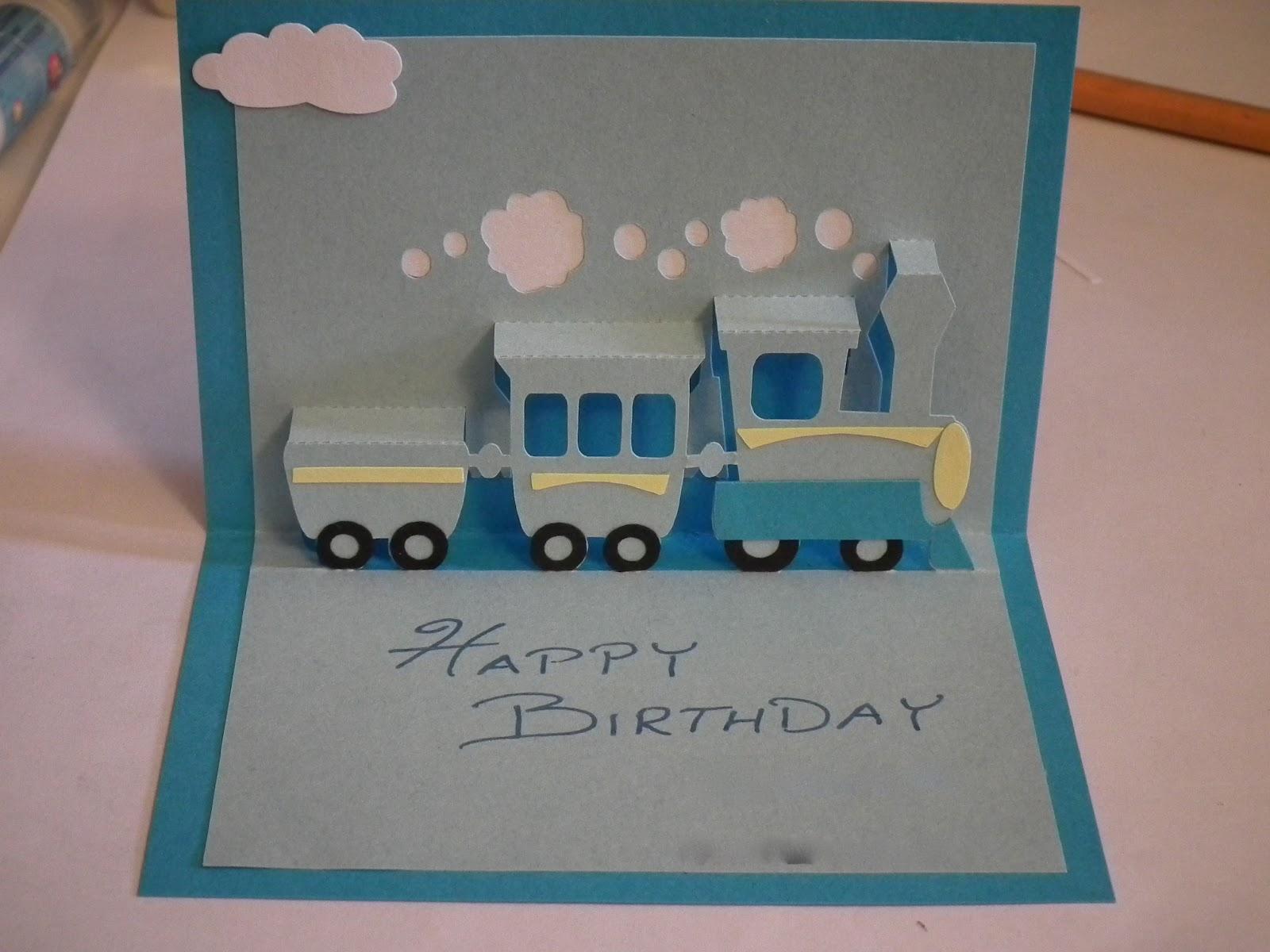 Crafty Card Tricks Pop Up Train Birthday Card