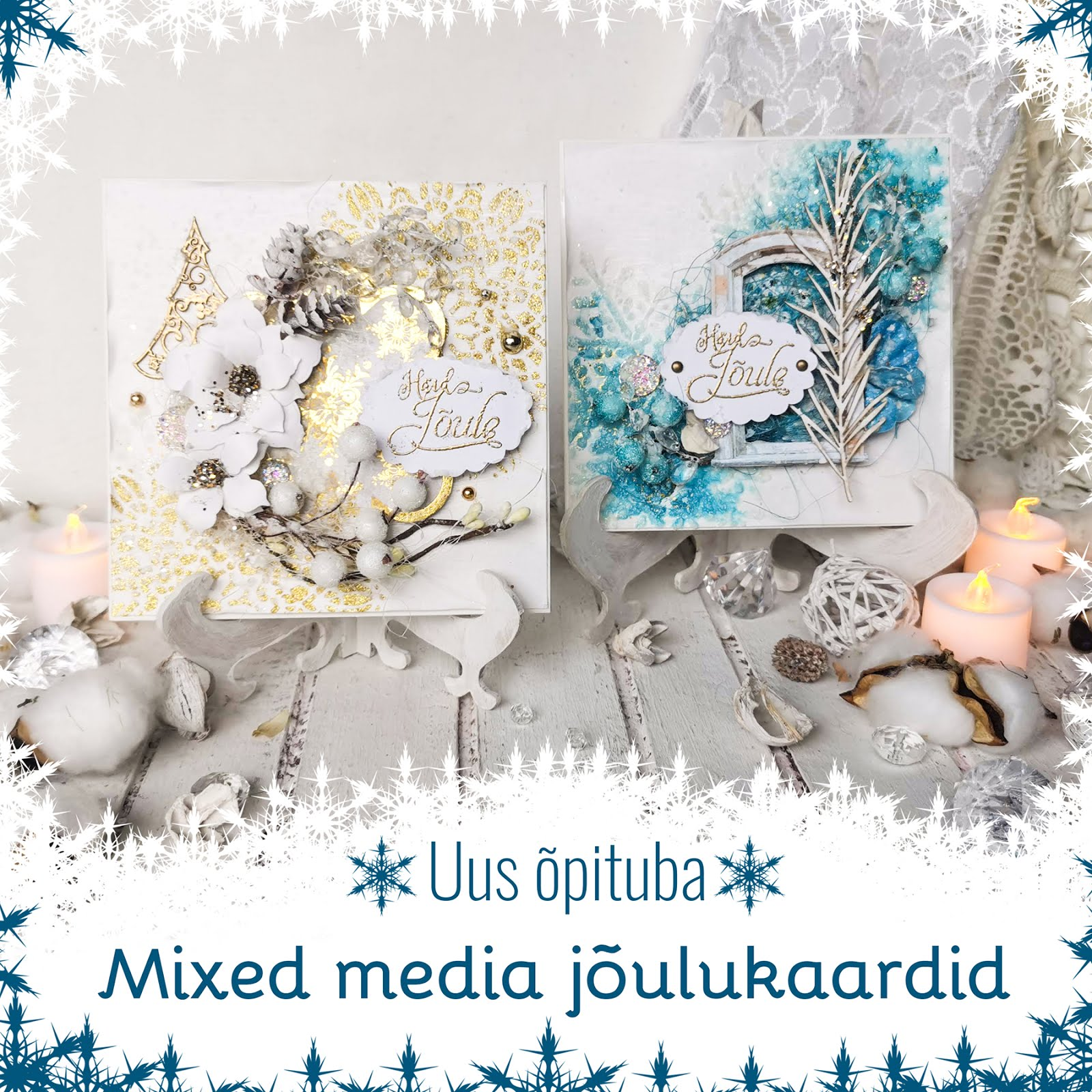 Mixed Media Christmas Cards Workshop in Tallinn 11.12.2020