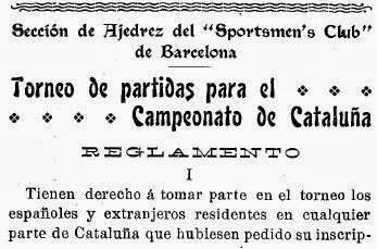 Recortes sobre Torneo de Ajedrez para el Campeonato de Cataluña disputado en 1905 en Barcelona (1)