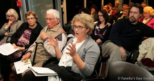 Carol Bevis, principal, Bledisloe School, Taradale, Napier, asked a question about the affordability of digital technology at a Education Election forum at East Pier, Napier photograph