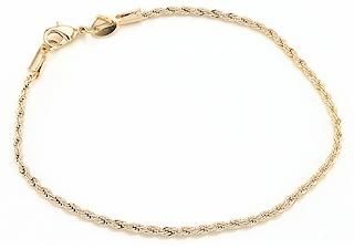 Pulseira folheada a ouro, cor dourada, 19cm, foto com fundo branco.