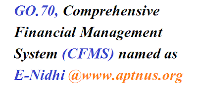 GO.70, Comprehensive Financial Management System (CFMS) named as E-Nidhi