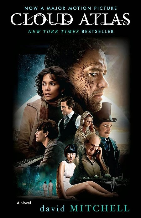 Book cover: Cloud Atlas by David Mitchell. This edition's cover art promotes the movie based upon the book, featuring a montage of actors who portray the book's main characters.