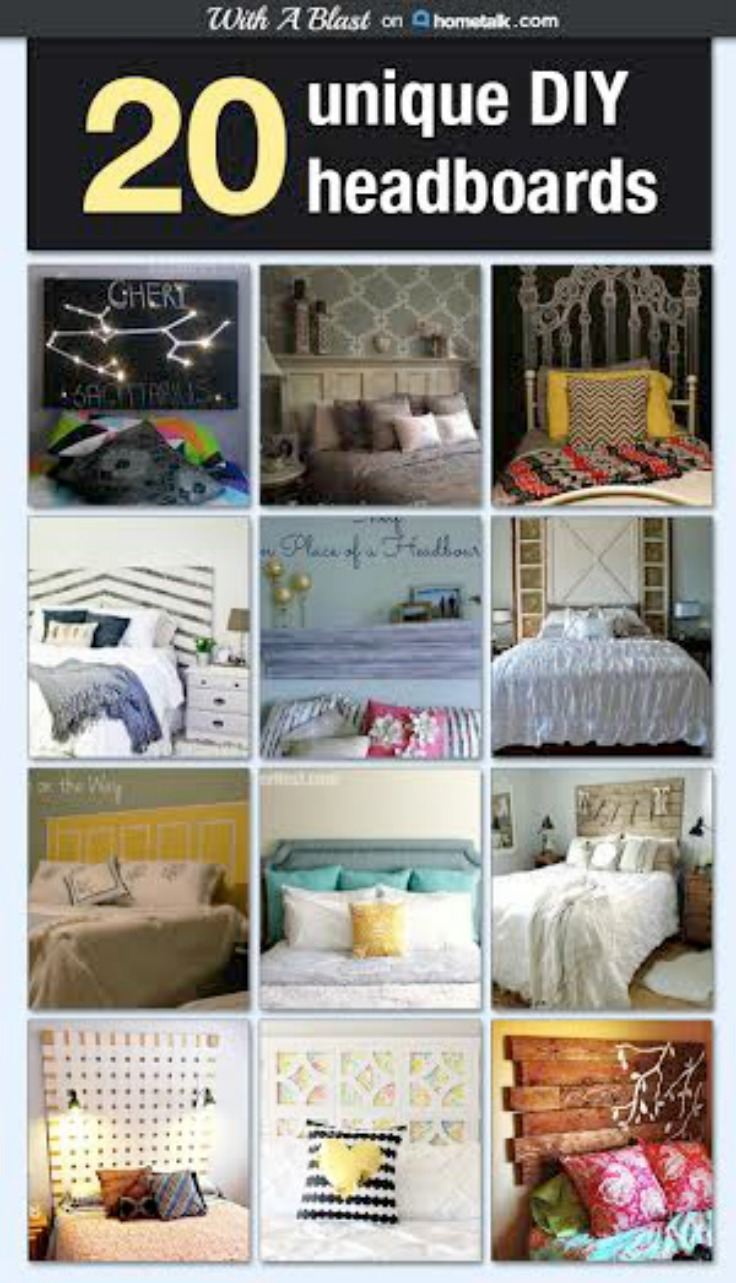 20 Unique DIY Headboards ~ 20 DIY Headboards in this Unique collection ~ something for everyone and all with tutorials ! #Hometalk