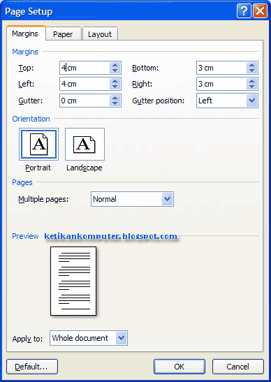 membuat margin di ms word 2007