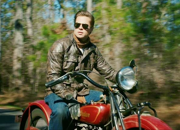 the curious case of benjamin button motorcycle scene brad pitt royal enfield