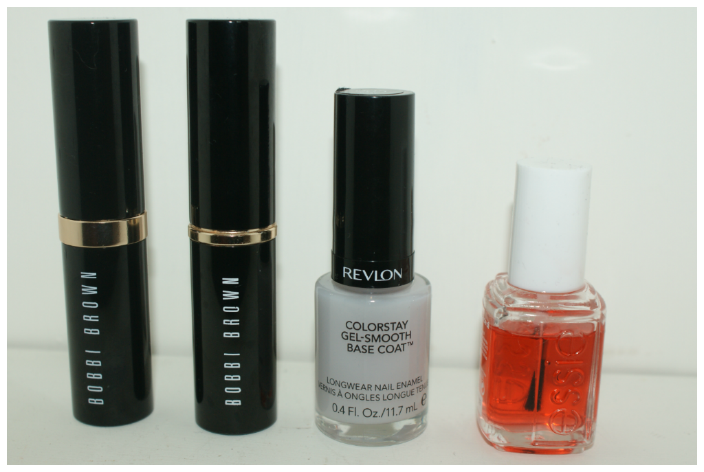 Bobbi Brown Foundation stick, Revlon Colorstay gel smooth base coat, essie apricot cuticle oil