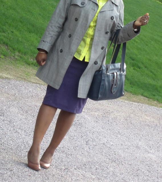 Purple Pencil Skirt Target, Yellow Shirt, Nude wedges, Window pane jacket