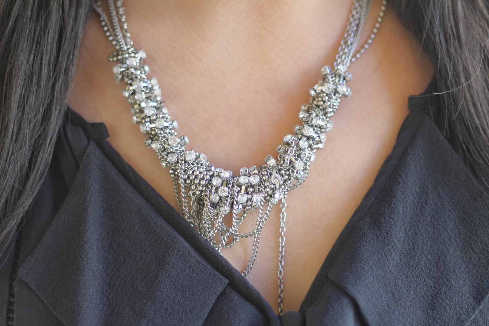 Diamonds and Chains Statement Necklace