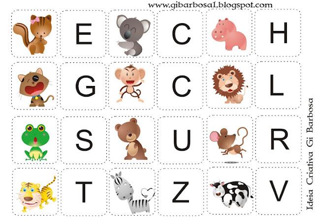 Joguinho Letra Inicial tema animais