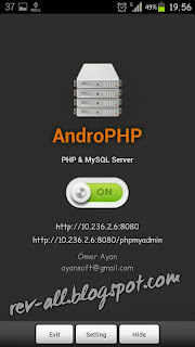 on-of androPHP - aplikasi server lokal android