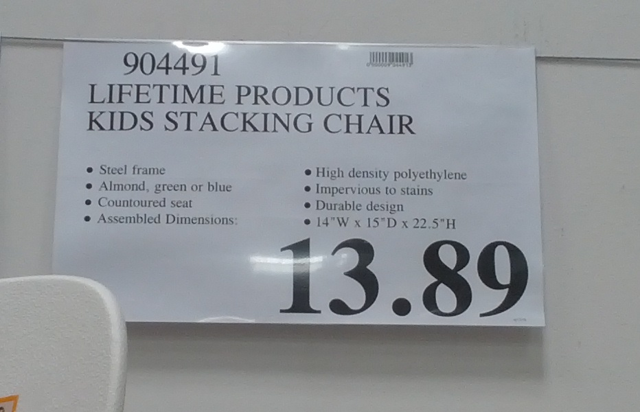Deal for Lifetime Kids Stacking Chair at Costco
