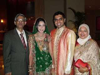 Nashmeen with her parents and husband Faraz