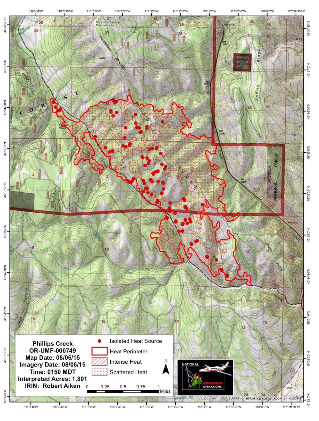 Blue Mountain Fire Information Phillips Creek Fire Infrared Map 8