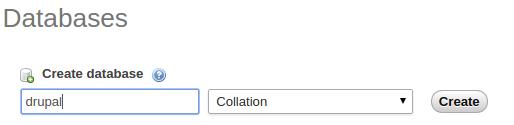 buat database drupal