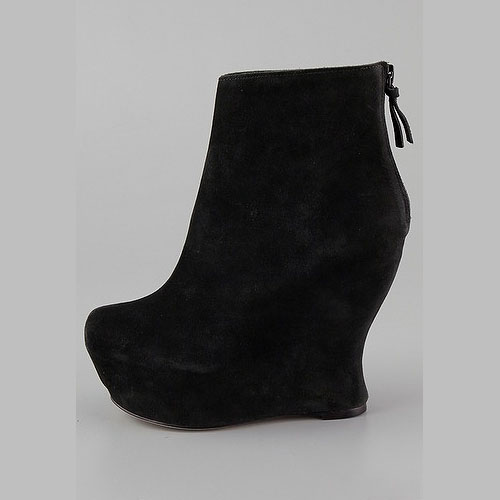 Alice %252B Olivia Java suede wedge booties Trends: The inward curve heels