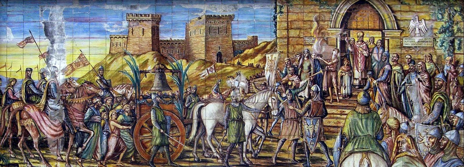 Conduzione della campana d'Altavilla a Caltagirone, mosaico in maiolica policroma nella piazza dell