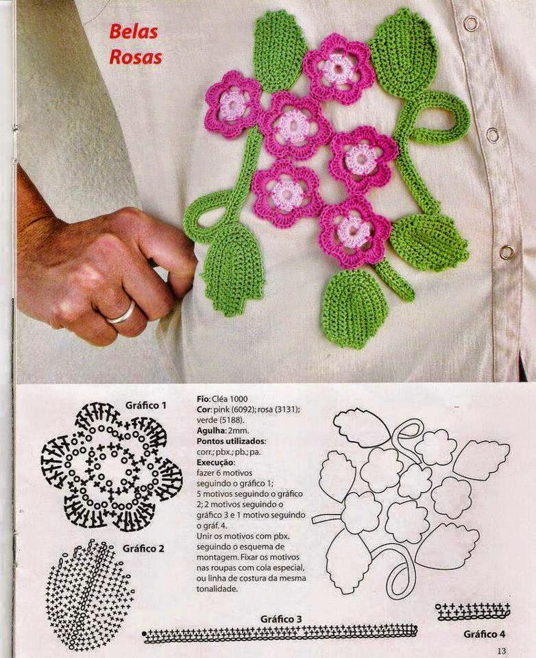Aplique de flores tejido al crochet - con patrones y molde | Crochet ...