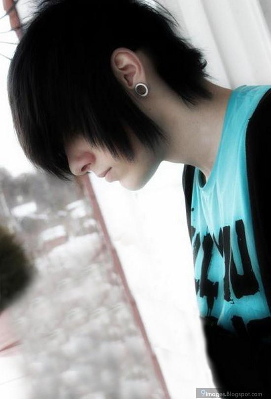 Emo boy hairstyle alone cute scene |