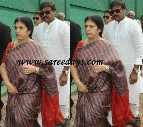 Latest saree designs surekha in printed pure silk saree checkout chiranjeevi wife surekha in printed pure silk saree with printed design and red pallu and paired with red contrast half sleeves blouse altavistaventures Image collections