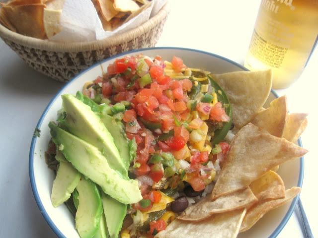 Vegetarian Fajita Burrito Bowls with Baked Tortilla Chips