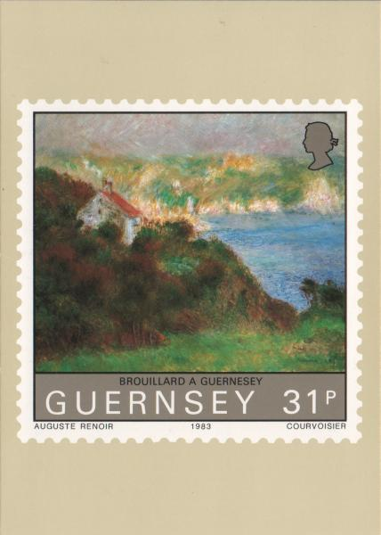 Renoir painting on a stamp - Brouillard a Guernsey - picture of bay in the mist