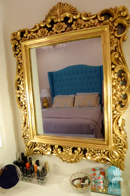 teal bed, chic bedroom, home office, turquoise and yellow room