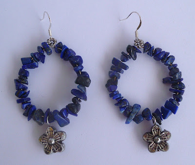 handmade lapis lazuli and metal hoop earrings