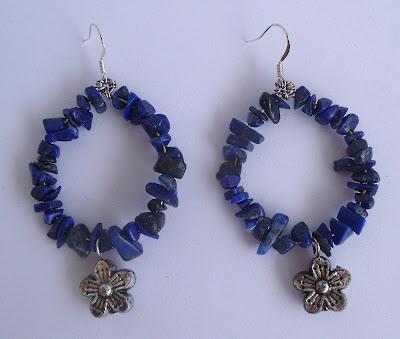 handmade lapis lazuli and metal hoop earrings