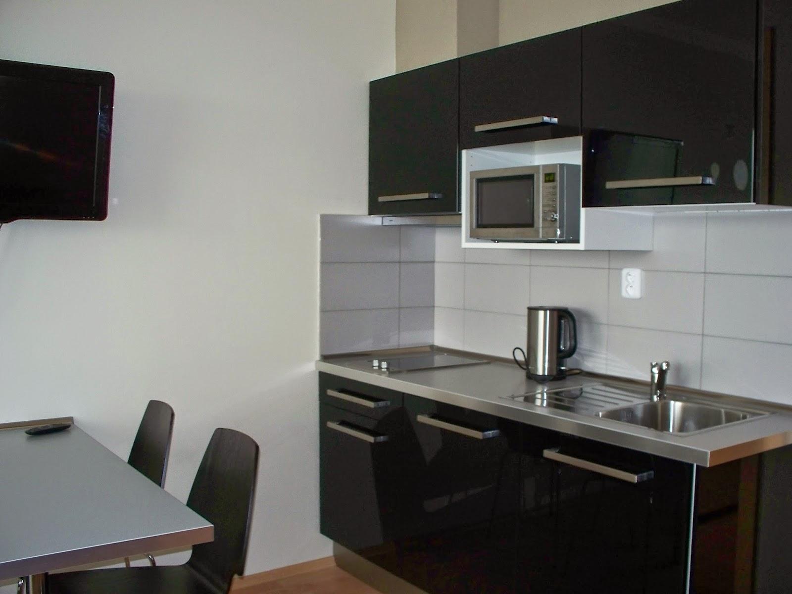 Kuchyňka se základním příslušenstvím (varná konvice, mikrovlná trouba)