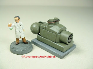 Small scale power generator designed for 25-28mm war games and role-playing games - type 1 - rear view.