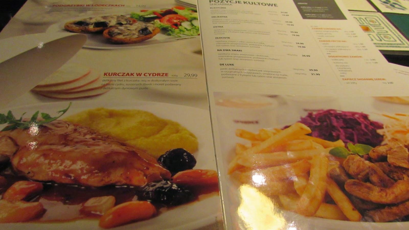 potrawy z menu restauracji