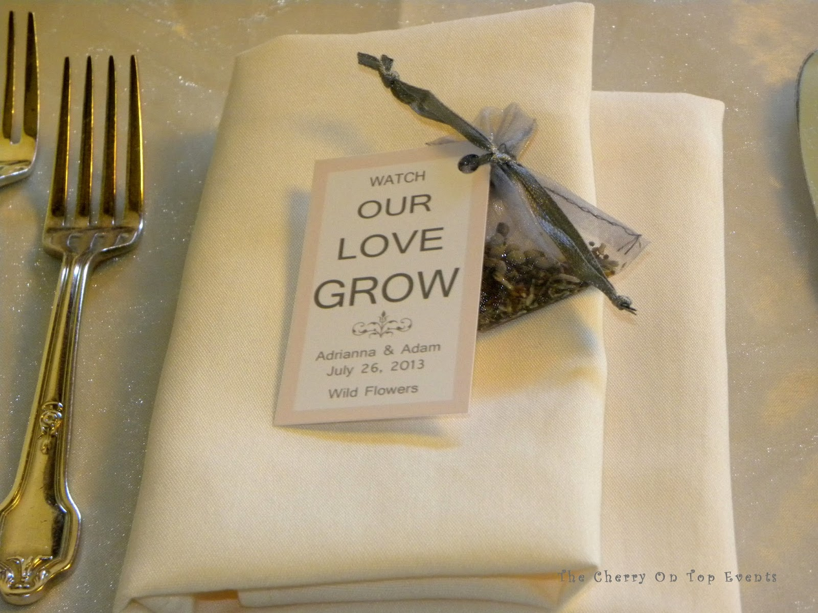 At each place setting there was a folded napkin in between the silver flatware and it was topped with this little favor. Dove grey favor bags filled with ... : tent fold napkin - memphite.com