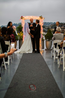 Dusk falls during Veronica and Anthony's wedding ceremony - Kent Buttars, Seattle Wedding Officiant