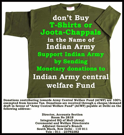 Donate Money to Indian Army central Welfare Fund