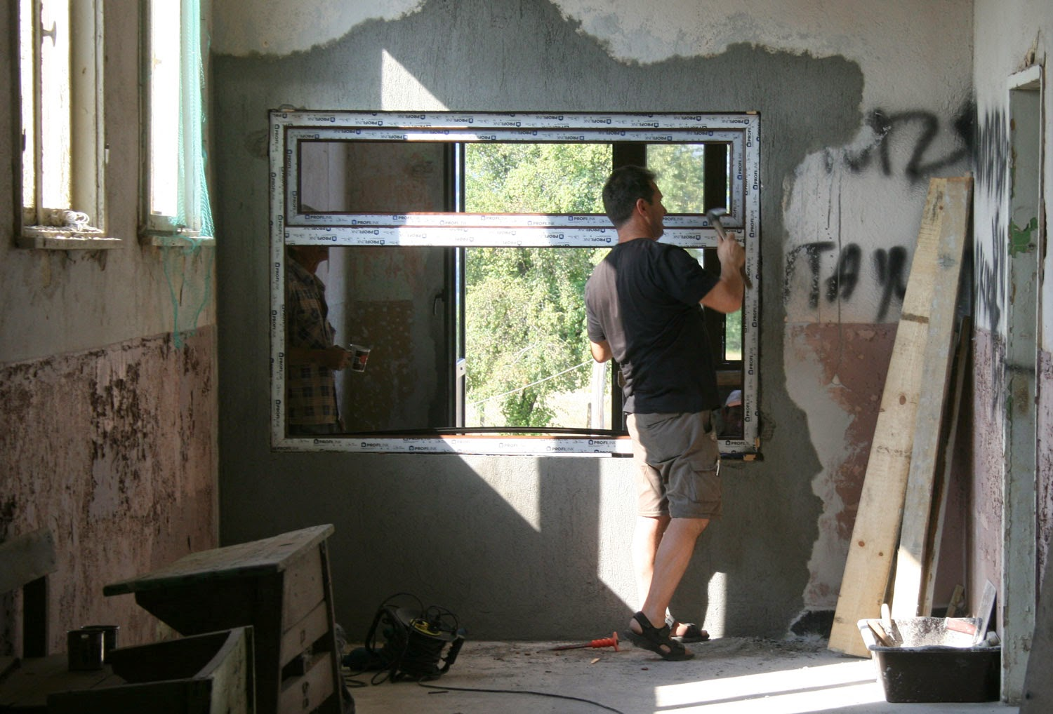 A window being fitted