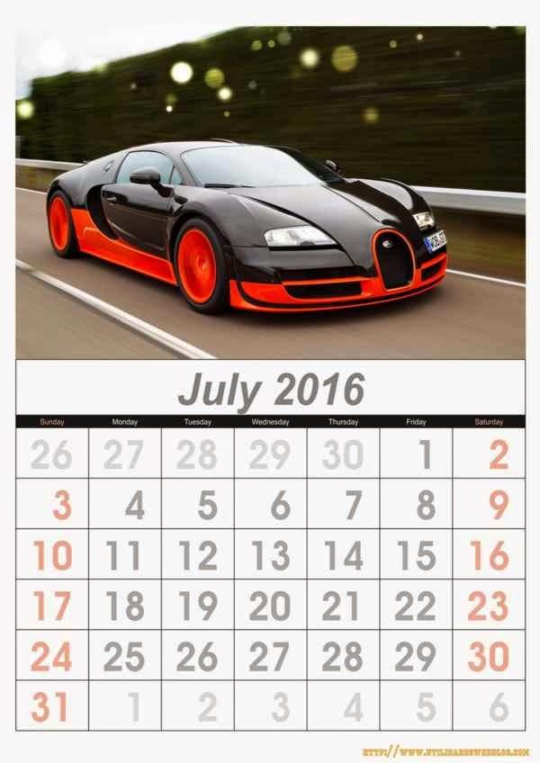 calendario de autos mes de julio año 2016 listos para imprimir