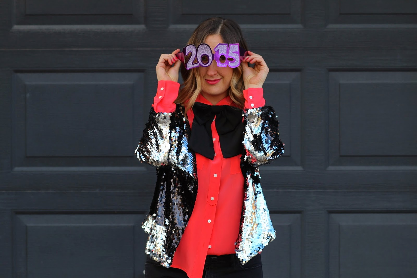 sequin jacket, new year's eve sequin, what to wear on NYE, what to wear on new years eve, sequins, sequin outfit, big bow tie, neon pink shirt, j.crew neon pink top, what would jen wear, nye fashion, nye style